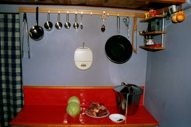 The kitchen in our cabin at Skorgedalen